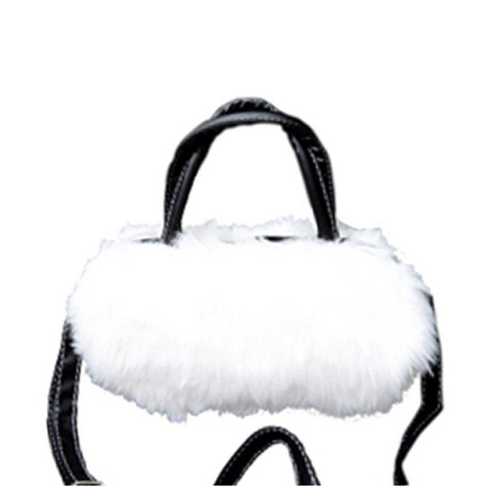 Women's Handbag Exquisite Solid Fluffy Charm Bag - WHITE