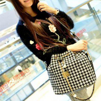 Women's Fashion Design Bucket Chain Shoulder Bag - BLACK