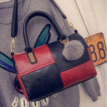 Women's Handbag Elegant Color Patchwork Pompon Pendant Cylinder Bag -  RED
