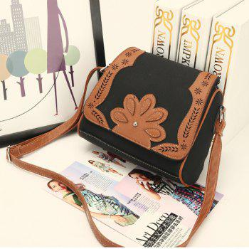 Women's Crossbody Bag Retro Mori Girl Style Floral Patchwork Bag - BLACK