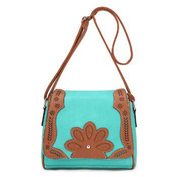Women's Crossbody Bag Retro Mori Girl Style Floral Patchwork Bag - GREEN GREEN