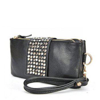 Women's Clutch Bag Simple Solid Rivets Decor Rectangle Purse - BLACK BLACK