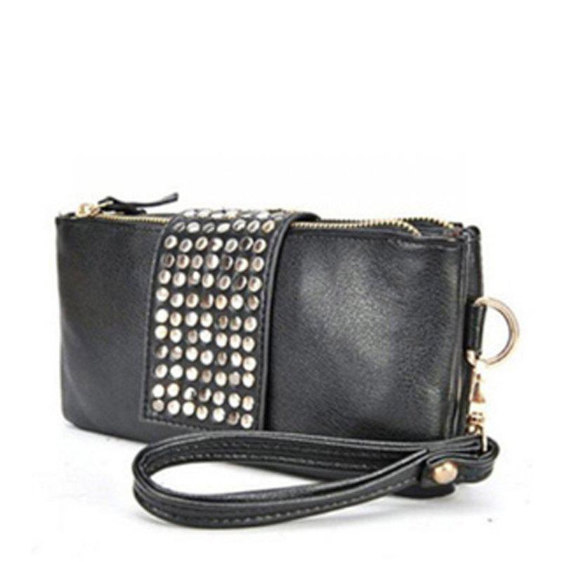 Women's Clutch Bag Simple Solid Rivets Decor Rectangle Purse - BLACK