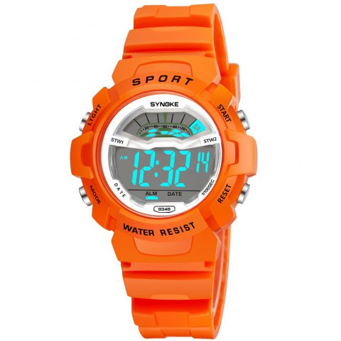 SYNOKE 9348 Student Waterproof Night Light Fashion Children Watch - ORANGE FEMALE