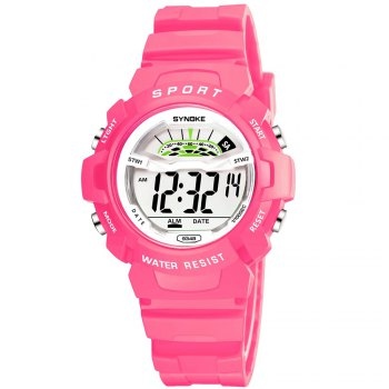 SYNOKE 9348 Student Waterproof Night Light Fashion Children Watch - PINK FEMALE