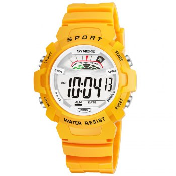 SYNOKE 9348 Student Waterproof Night Light Fashion Children Watch - YELLOW MALE