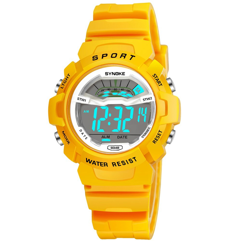 SYNOKE 9348 Student Waterproof Night Light Fashion Children Watch - YELLOW FEMALE