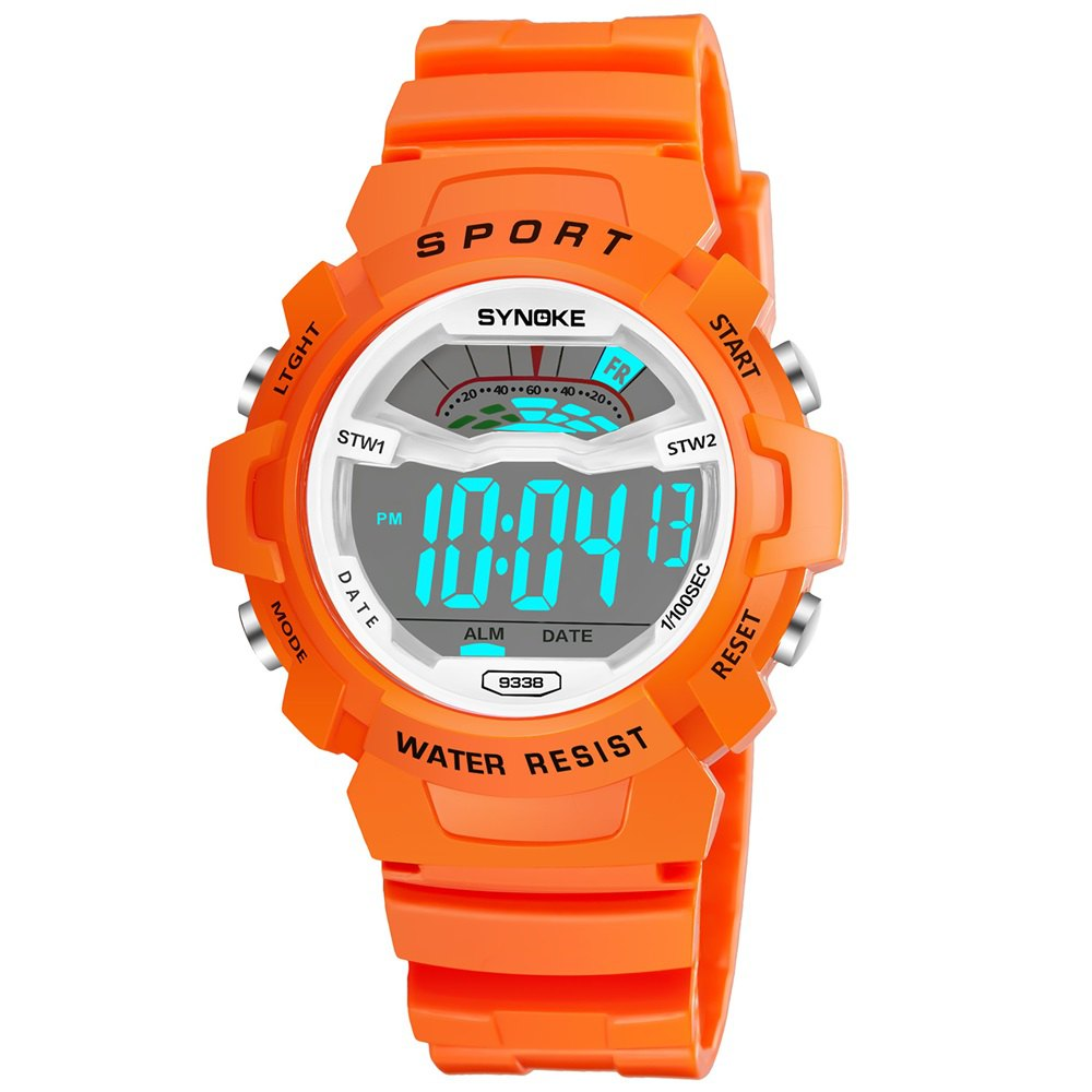 SYNOKE 9348 Student Waterproof Night Light Fashion Children Watch - ORANGE MALE