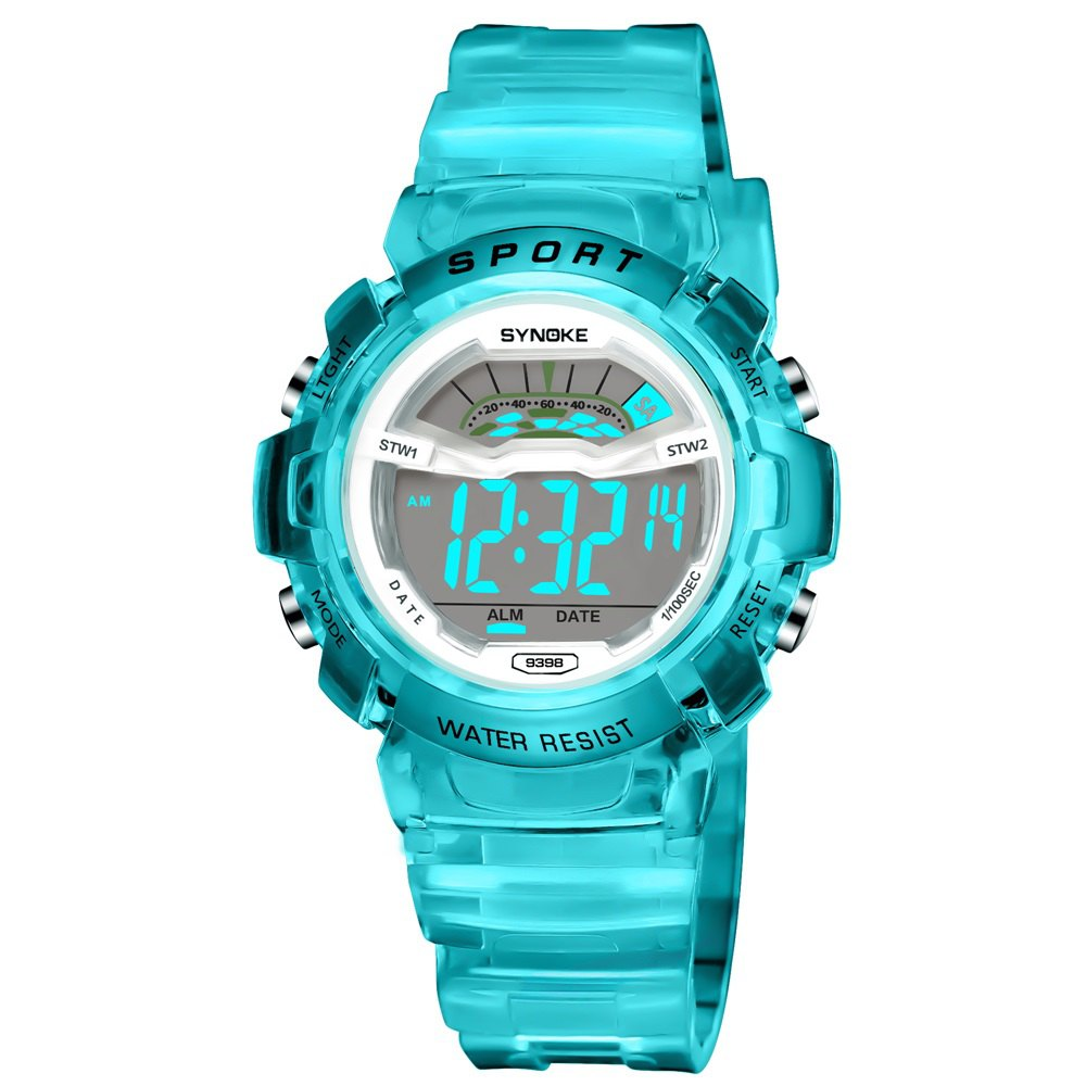 SYNOKE 9388 Waterproof Luminous Multi - Function Child Movement Electronic Watch - BLUE FEMALE