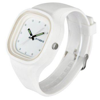 SYNOKE 66895 Sports Waterproof Trend Jelly Couple Watch - WHITE