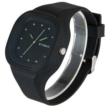 SYNOKE 66895 Sports Waterproof Trend Jelly Couple Watch - BLACK