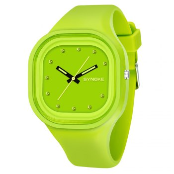 SYNOKE 66895 Sports Waterproof Trend Jelly Couple Watch - GREEN GREEN