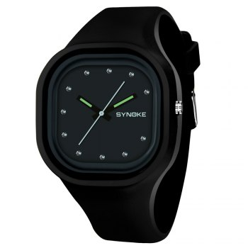 SYNOKE 66895 Sports Waterproof Trend Jelly Couple Watch - BLACK BLACK