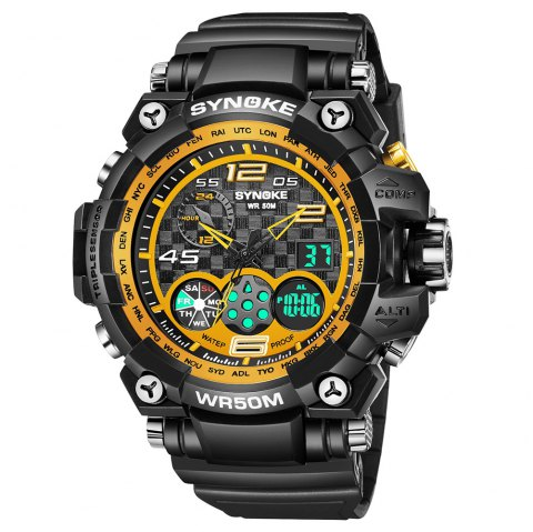 SYNOKE 67386 Trendy Sports Multifunctional Man Watch - BLACK GOLD