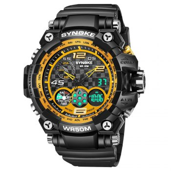 SYNOKE 67386 Trendy Sports Multifunctional Man Watch - BLACK GOLD BLACK GOLD