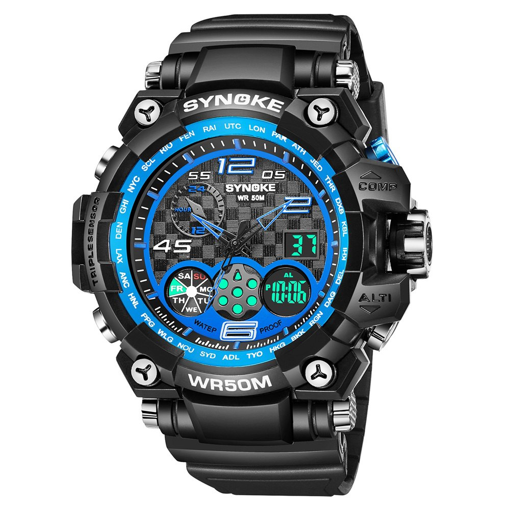 SYNOKE 67386 Trendy Sports Multifunctional Man Watch - BLACK / BLUE