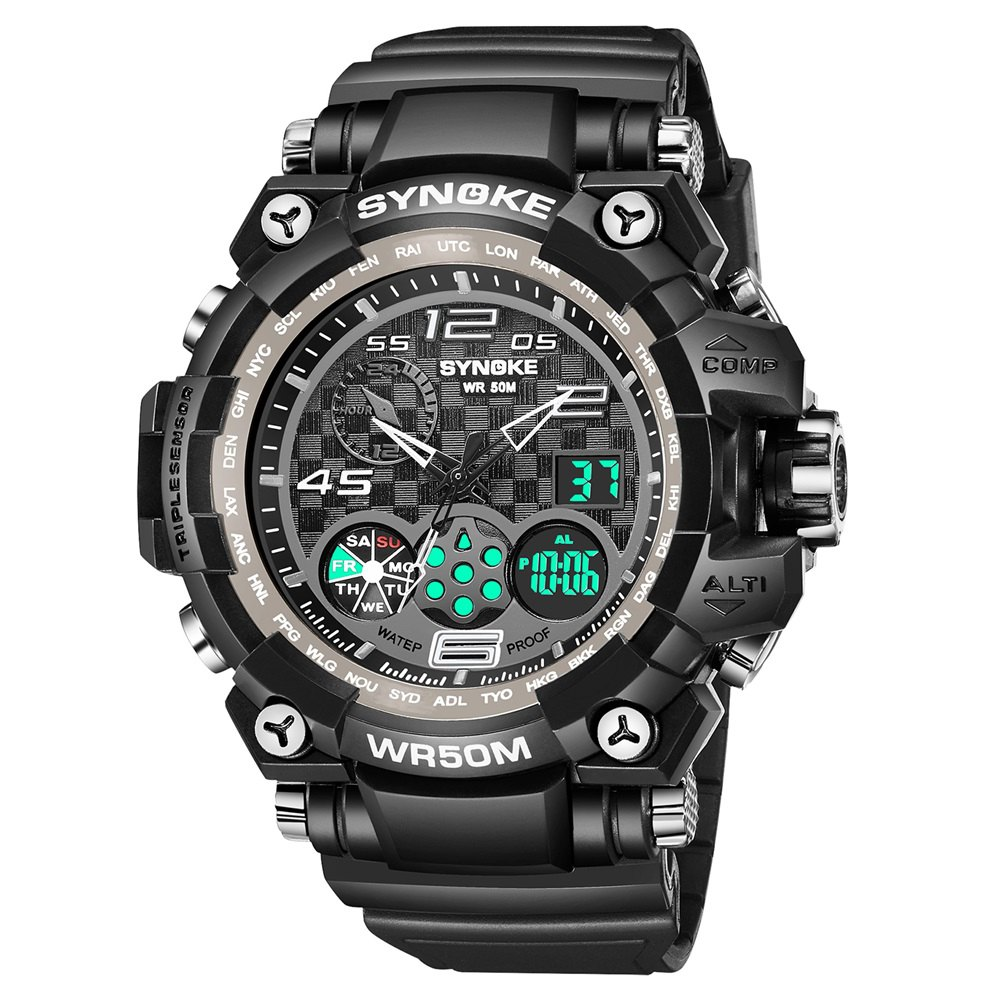 SYNOKE 67386 Trendy Sports Multifunctional Man Watch - BLACK