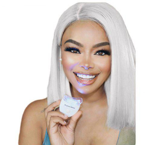 14 inch White Grey Middle Part Bobo Hair Synthetic Lace Front Wig - WHITE GREY 14INCH