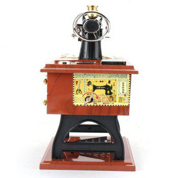Retro Vintage Sewing Machine Music Box Birthday Gift Home Decoration - WOOD GRAIN
