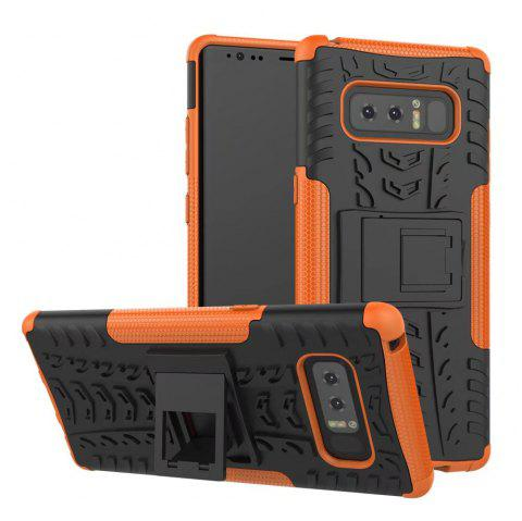 Double Protections Phone Bracket Anti-drop Bumper Relief Case Back Cover Protector for Samsung Galaxy Note 8 - ORANGE