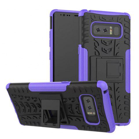 Double Protections Phone Bracket Anti-drop Bumper Relief Case Back Cover Protector for Samsung Galaxy Note 8 - PURPLE