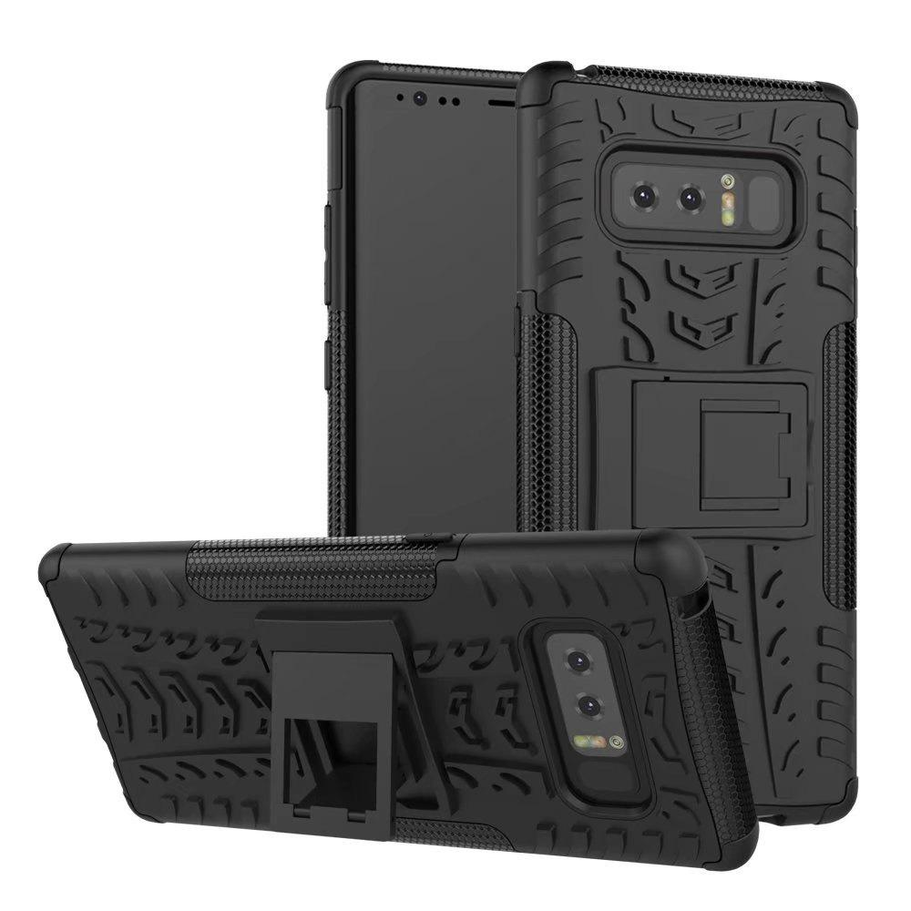 Double Protections Phone Bracket Anti-drop Bumper Relief Case Back Cover Protector for Samsung Galaxy Note 8 - BLACK