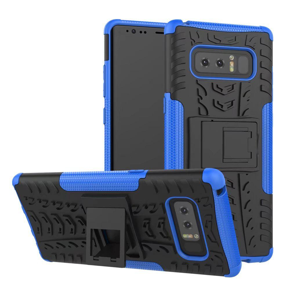 Double Protections Phone Bracket Anti-drop Bumper Relief Case Back Cover Protector for Samsung Galaxy Note 8 - DEEP BLUE