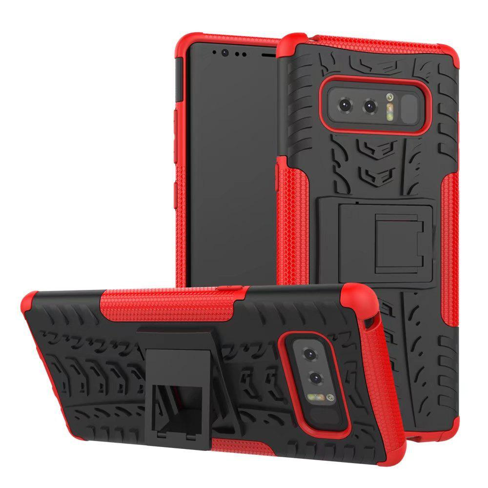 Double Protections Phone Bracket Anti-drop Bumper Relief Case Back Cover Protector for Samsung Galaxy Note 8 - RED