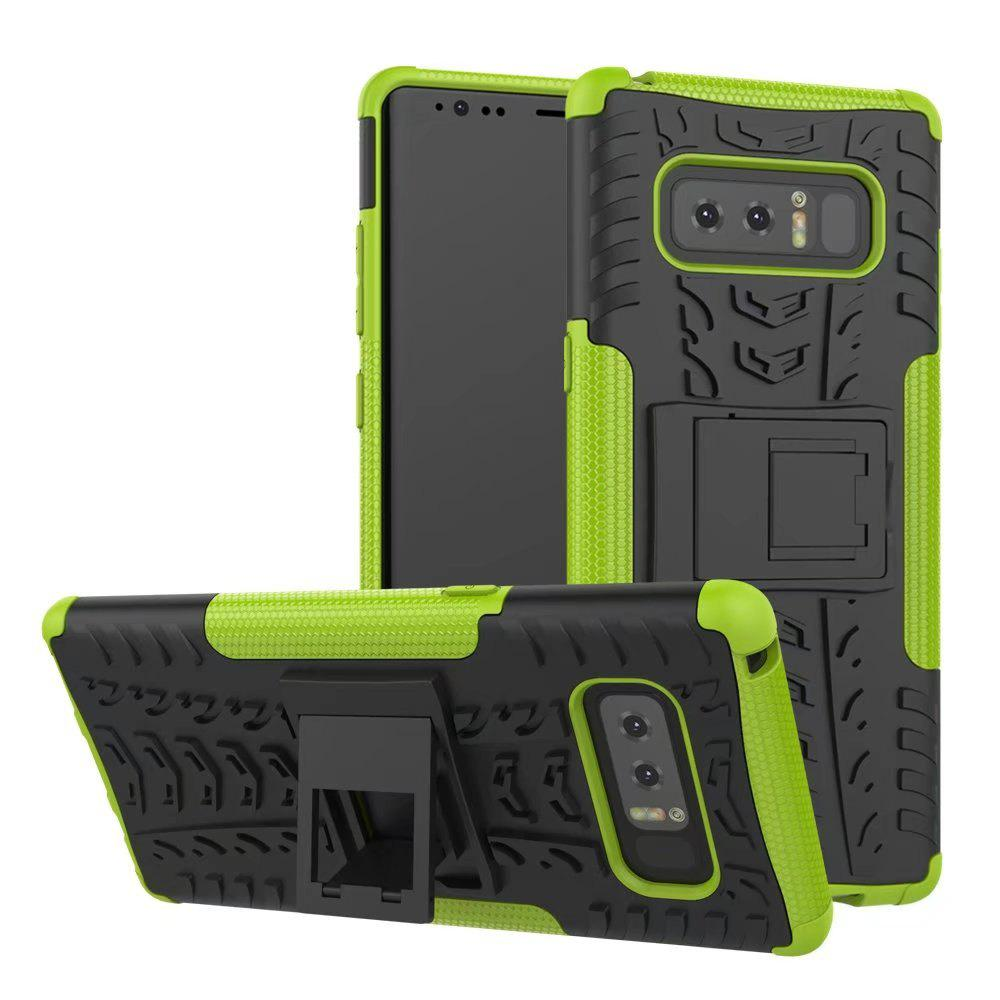 Double Protections Phone Bracket Anti-drop Bumper Relief Case Back Cover Protector for Samsung Galaxy Note 8 - GREEN