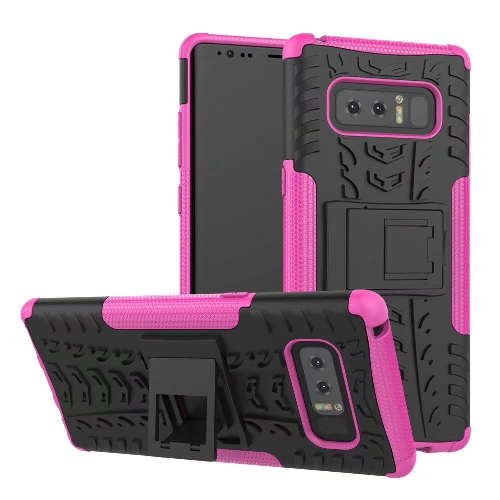 Double Protections Phone Bracket Anti-drop Bumper Relief Case Back Cover Protector for Samsung Galaxy Note 8 - ROSE MADDER