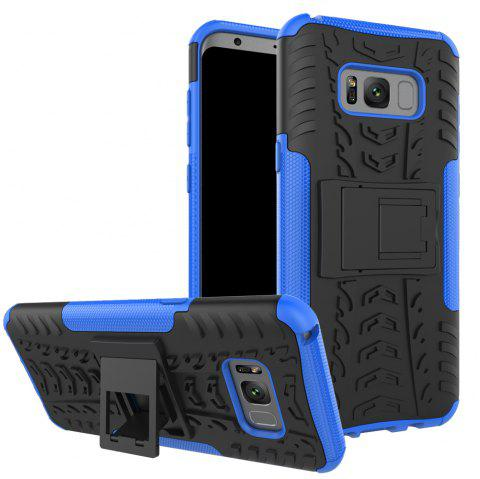 Double Protections Phone Bracket Anti-drop Relief Case Back Cover Protector for Samsung Galaxy S8 - DEEP BLUE