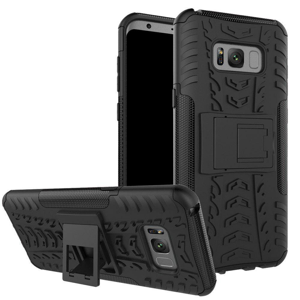 Double Protections Phone Bracket Anti-drop Relief Case Back Cover Protector for Samsung Galaxy S8 - BLACK