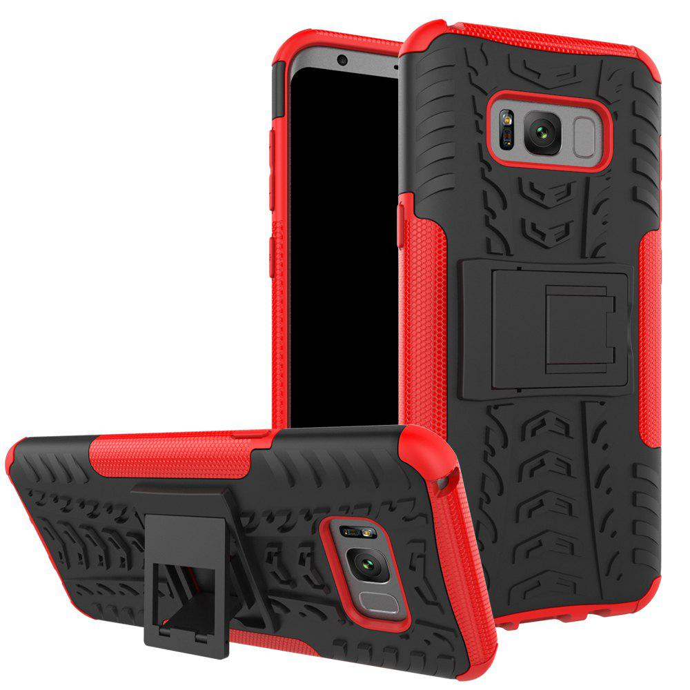 Double Protections Phone Bracket Anti-drop Relief Case Back Cover Protector for Samsung Galaxy S8 - RED
