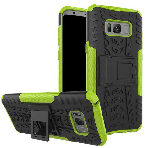 Double Protections Phone Bracket Anti-drop Bumper Relief Case Back Cover Protector for Samsung Galaxy S8 Plus - GREEN