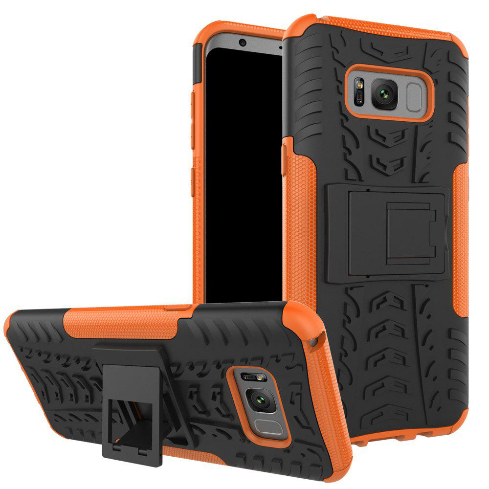 Double Protections Phone Bracket Anti-drop Bumper Relief Case Back Cover Protector for Samsung Galaxy S8 Plus - ORANGE