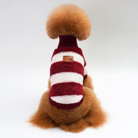 Coral Fleece Stripe Sweater Dog Clothes - WINE RED L