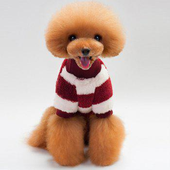 Coral Fleece Stripe Sweater Dog Clothes - WINE RED S