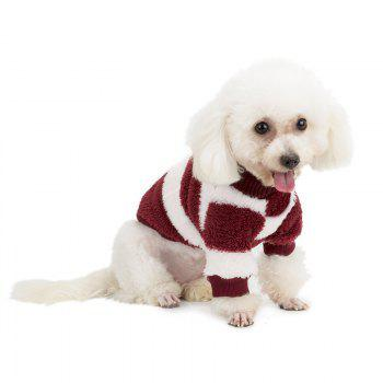 Coral Fleece Stripe Sweater Vêtements pour chiens - Rouge vineux M