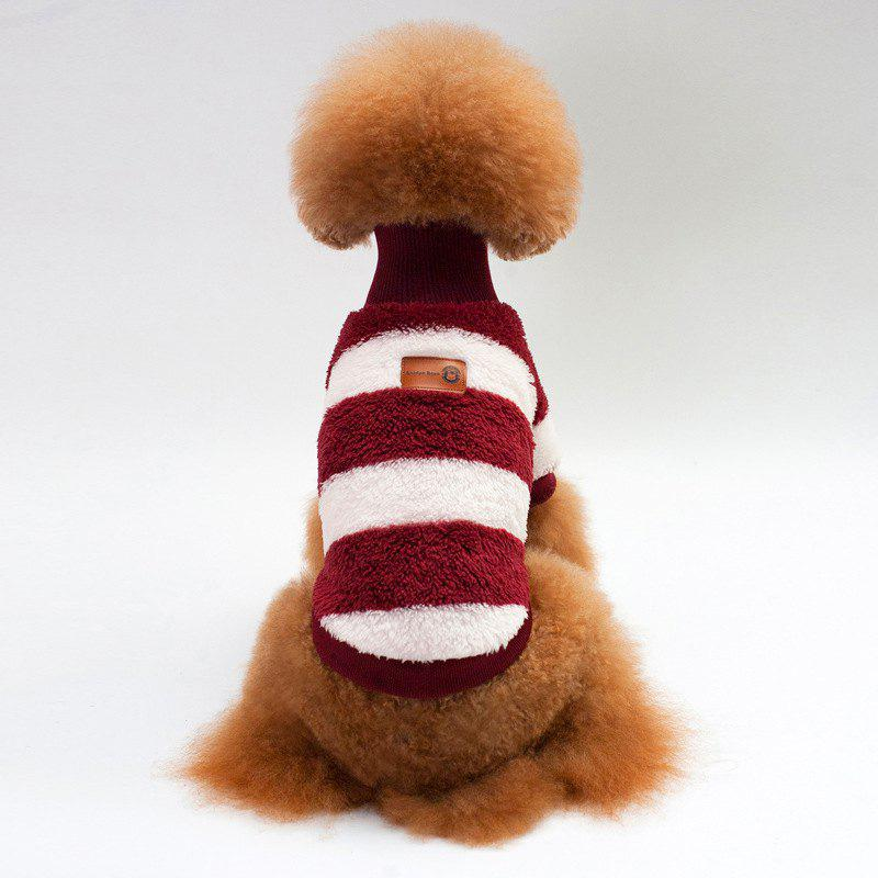 Coral Fleece Stripe Sweater Dog Clothes - WINE RED M
