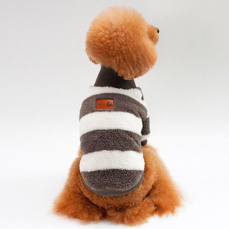 Coral Fleece Stripe Sweater Dog Clothes - DEEP GRAY S