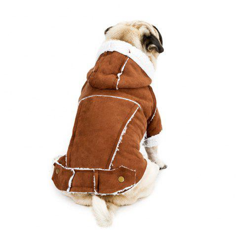 Fashion Suede Winter Jacket for Small Dog - BROWN L