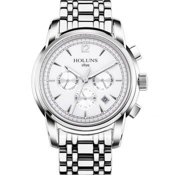 HOLUNS 4872 Men Business Casual Steel Band Automatic Mechanical Watch - SILVER AND WHITE SILVER/WHITE