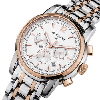 HOLUNS 4872 Men Business Casual Steel Band Automatic Mechanical Watch -  GOLD/WHITE