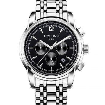 HOLUNS 4872 Men Business Casual Steel Band Automatic Mechanical Watch - SILVER AND BLACK SILVER/BLACK