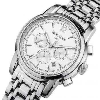 HOLUNS 4872 Men Business Casual Steel Band Automatic Mechanical Watch - SILVER/WHITE