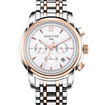 HOLUNS 4872 Men Business Casual Steel Band Automatic Mechanical Watch - GOLD AND WHITE GOLD/WHITE