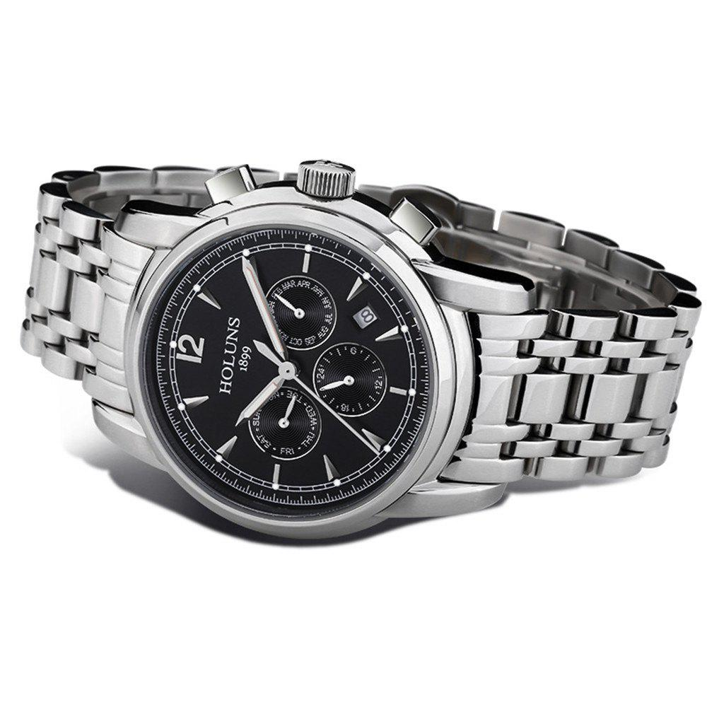 HOLUNS 4872 Men Business Casual Steel Band Automatic Mechanical Watch - SILVER/BLACK