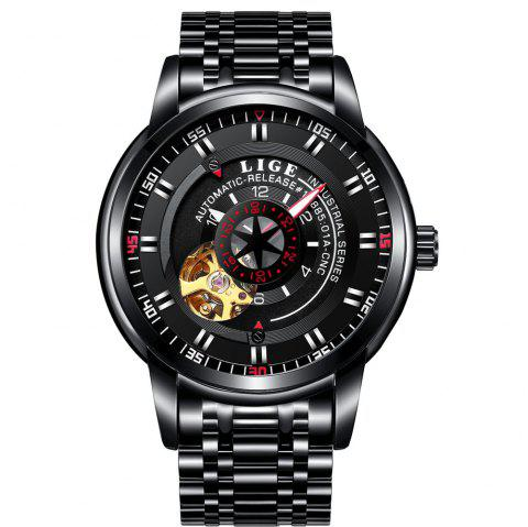 LIGE 9824 4838 Business Casual Men Automatic Mechanical Steel Band Watch - BLACK