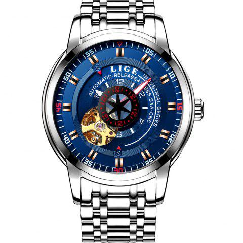 LIGE 9824 4838 Business Casual Men Automatic Mechanical Steel Band Watch - SILVER/BLUE
