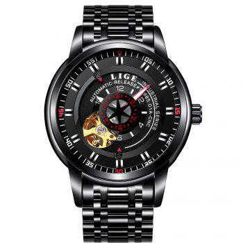 LIGE 9824 4838 Business Casual Men Automatic Mechanical Steel Band Watch - BLACK BLACK